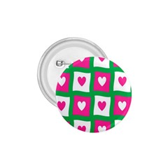 Pink Hearts Valentine Love Checks 1.75  Buttons