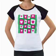 Pink Hearts Valentine Love Checks Women s Cap Sleeve T