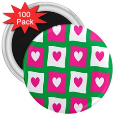 Pink Hearts Valentine Love Checks 3  Magnets (100 pack)