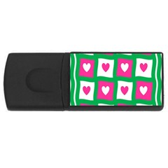 Pink Hearts Valentine Love Checks USB Flash Drive Rectangular (2 GB)