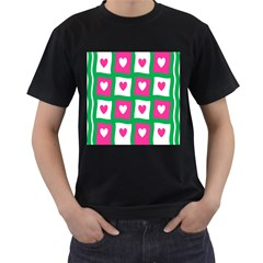 Pink Hearts Valentine Love Checks Men s T-Shirt (Black) (Two Sided)