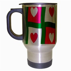 Pink Hearts Valentine Love Checks Travel Mug (Silver Gray)