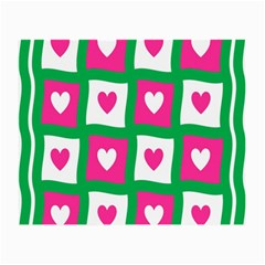 Pink Hearts Valentine Love Checks Small Glasses Cloth