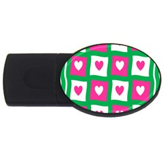 Pink Hearts Valentine Love Checks USB Flash Drive Oval (4 GB)