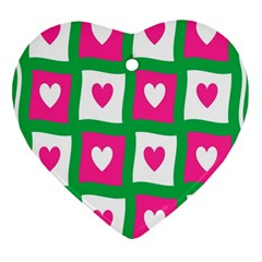 Pink Hearts Valentine Love Checks Heart Ornament (Two Sides)