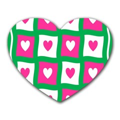 Pink Hearts Valentine Love Checks Heart Mousepads