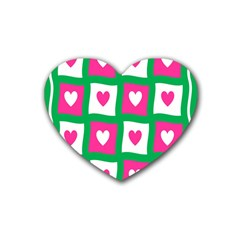 Pink Hearts Valentine Love Checks Heart Coaster (4 pack)