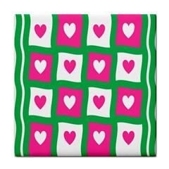 Pink Hearts Valentine Love Checks Face Towel