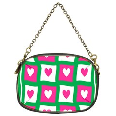 Pink Hearts Valentine Love Checks Chain Purses (Two Sides)