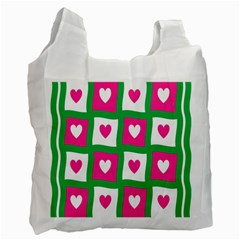 Pink Hearts Valentine Love Checks Recycle Bag (Two Side)