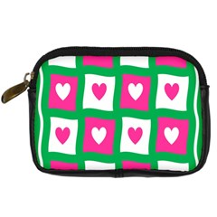 Pink Hearts Valentine Love Checks Digital Camera Cases