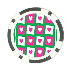 Pink Hearts Valentine Love Checks Poker Chip Card Guard (10 pack)