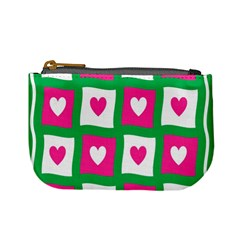 Pink Hearts Valentine Love Checks Mini Coin Purses