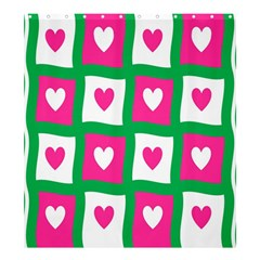 Pink Hearts Valentine Love Checks Shower Curtain 66  x 72  (Large)