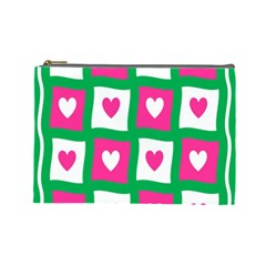 Pink Hearts Valentine Love Checks Cosmetic Bag (Large)