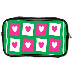 Pink Hearts Valentine Love Checks Toiletries Bags