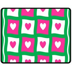 Pink Hearts Valentine Love Checks Fleece Blanket (Medium)