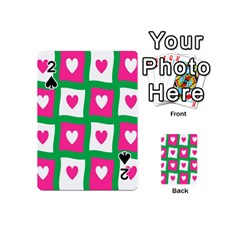 Pink Hearts Valentine Love Checks Playing Cards 54 (Mini)