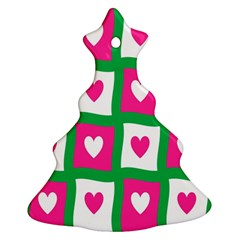 Pink Hearts Valentine Love Checks Christmas Tree Ornament (Two Sides)