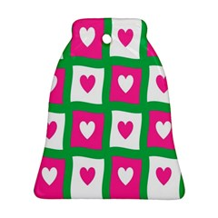 Pink Hearts Valentine Love Checks Bell Ornament (two Sides)