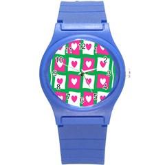 Pink Hearts Valentine Love Checks Round Plastic Sport Watch (s)