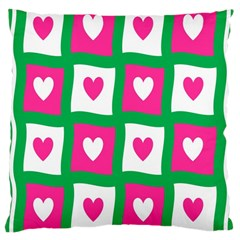 Pink Hearts Valentine Love Checks Large Cushion Case (one Side)