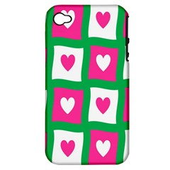 Pink Hearts Valentine Love Checks Apple iPhone 4/4S Hardshell Case (PC+Silicone)