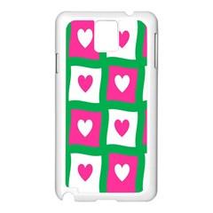 Pink Hearts Valentine Love Checks Samsung Galaxy Note 3 N9005 Case (White)
