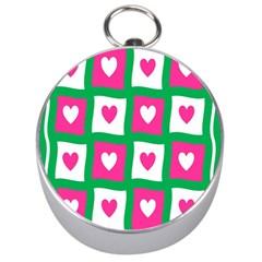 Pink Hearts Valentine Love Checks Silver Compasses