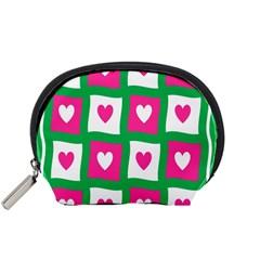 Pink Hearts Valentine Love Checks Accessory Pouches (Small)