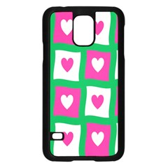 Pink Hearts Valentine Love Checks Samsung Galaxy S5 Case (black)