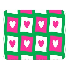 Pink Hearts Valentine Love Checks Double Sided Flano Blanket (large)