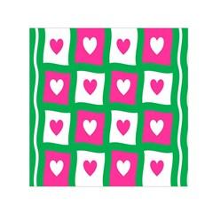 Pink Hearts Valentine Love Checks Small Satin Scarf (Square)