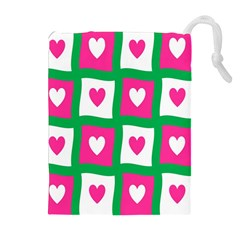 Pink Hearts Valentine Love Checks Drawstring Pouches (extra Large)