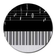 Piano Keyboard With Notes Vector Round Mousepads