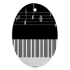 Piano Keyboard With Notes Vector Ornament (Oval)