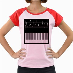 Piano Keyboard With Notes Vector Women s Cap Sleeve T Shirt