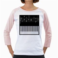 Piano Keyboard With Notes Vector Girly Raglans