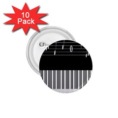 Piano Keyboard With Notes Vector 1 75  Buttons (10 Pack)
