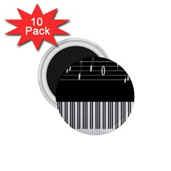 Piano Keyboard With Notes Vector 1.75  Magnets (10 pack)