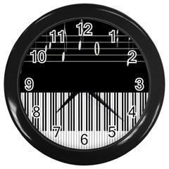 Piano Keyboard With Notes Vector Wall Clocks (Black)