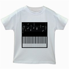 Piano Keyboard With Notes Vector Kids White T-Shirts