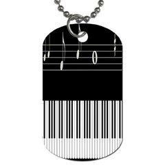 Piano Keyboard With Notes Vector Dog Tag (One Side)