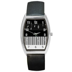 Piano Keyboard With Notes Vector Barrel Style Metal Watch