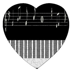 Piano Keyboard With Notes Vector Jigsaw Puzzle (Heart)