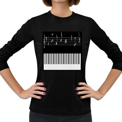 Piano Keyboard With Notes Vector Women s Long Sleeve Dark T-Shirts