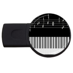 Piano Keyboard With Notes Vector USB Flash Drive Round (4 GB)