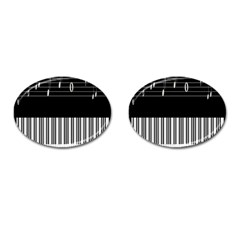 Piano Keyboard With Notes Vector Cufflinks (Oval)