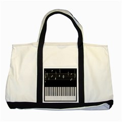 Piano Keyboard With Notes Vector Two Tone Tote Bag