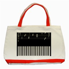 Piano Keyboard With Notes Vector Classic Tote Bag (Red)
